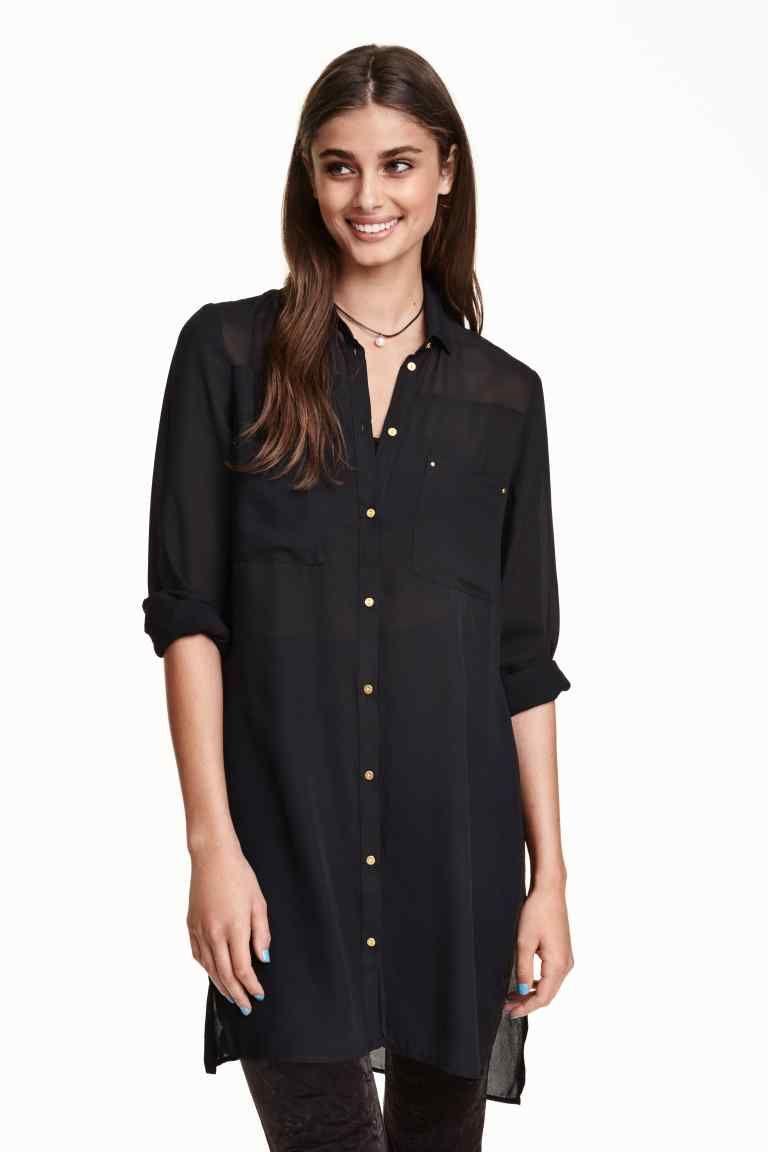 46d582007 Blusa larga de gasa | H&M | ropa | Blusa larga, Blusas y Vestidos de ...