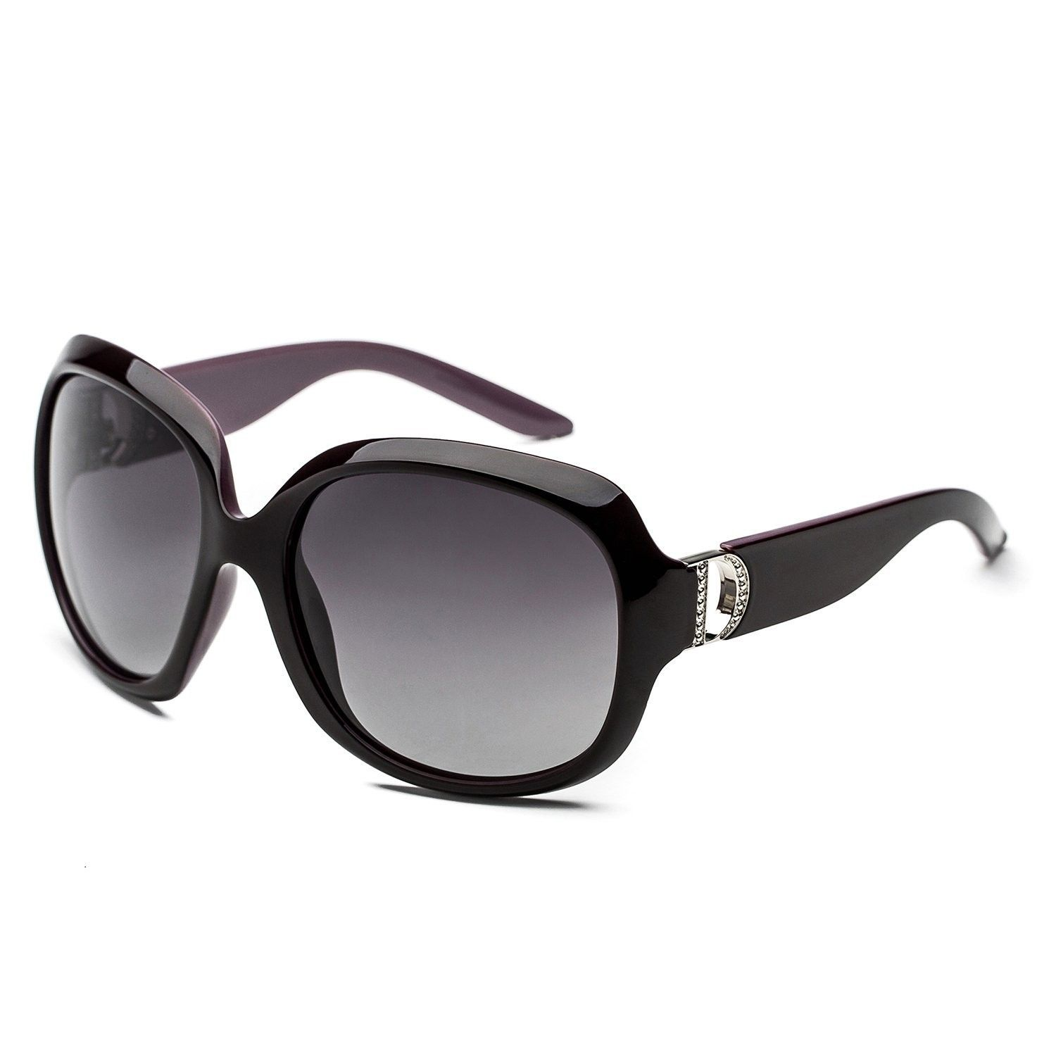 5c7f4142b0f Women s shades classic oversized polarized sunglasses 100% UV protection -  Black Purple Frame - C512O3358CE - Women s Sunglasses