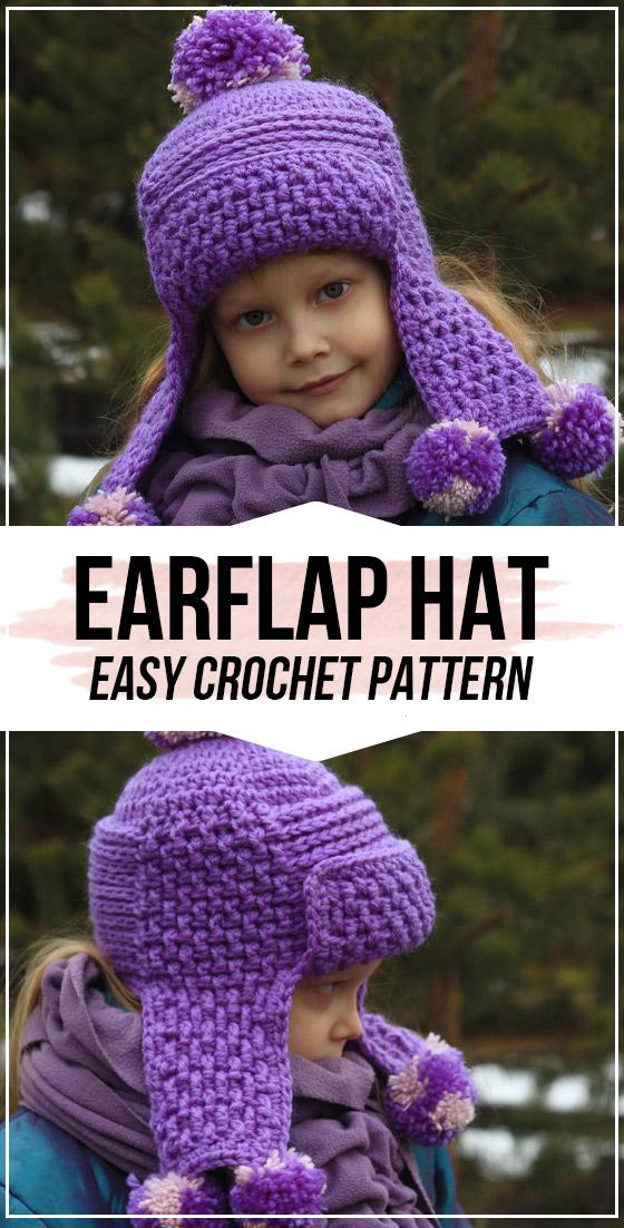 Crochet Earflap Hat pattern in 2020   Easy crochet hat ...