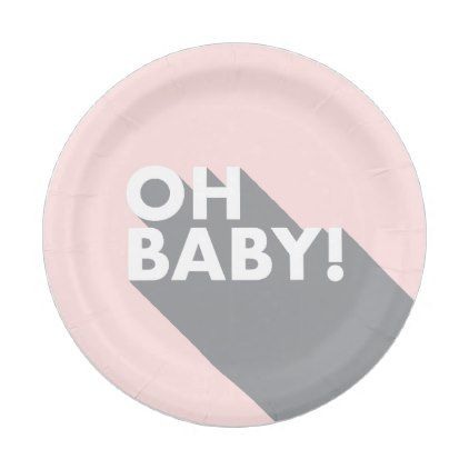 sc 1 st  Pinterest & Oh Baby Modern Retro Blush \u0026 Grey Paper Plate | Modern retro