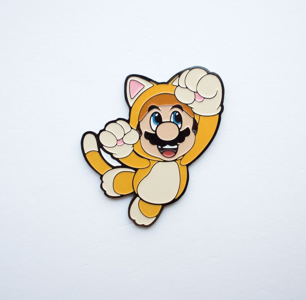 RARE Badge Cat Mario Nintendo Pin Super Mario 3D World #nintendo #mario #mario3ds #catmario #mariocat