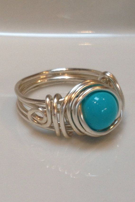 turquoise and silver wire wrapped ring with by OdleCreekChic, $15.00 ...