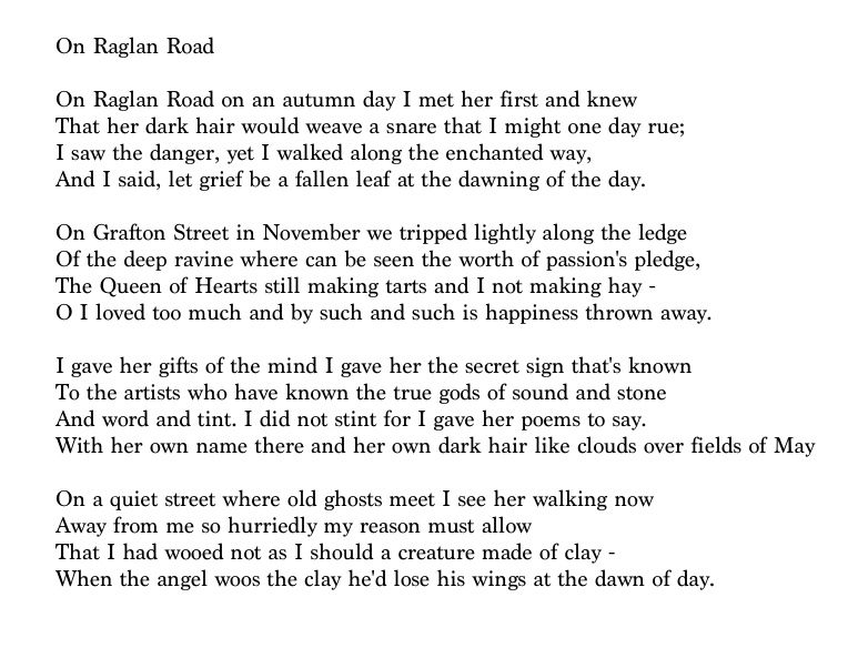 On Raglan Road A Well Known Irish Song By Poet Patrick Kavanagh