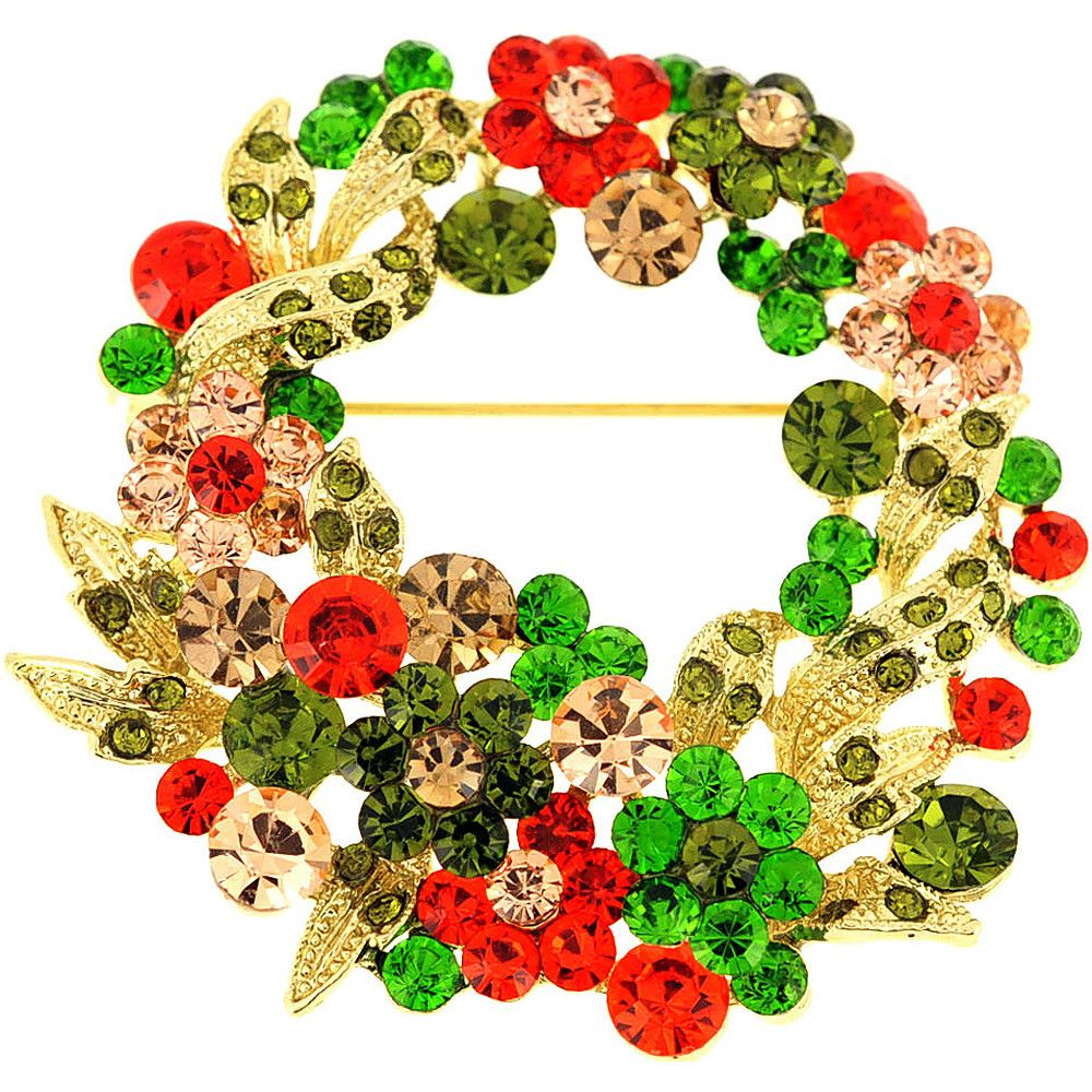 Multicolor Flower Wreath Crystal Pin Brooch and Pendant