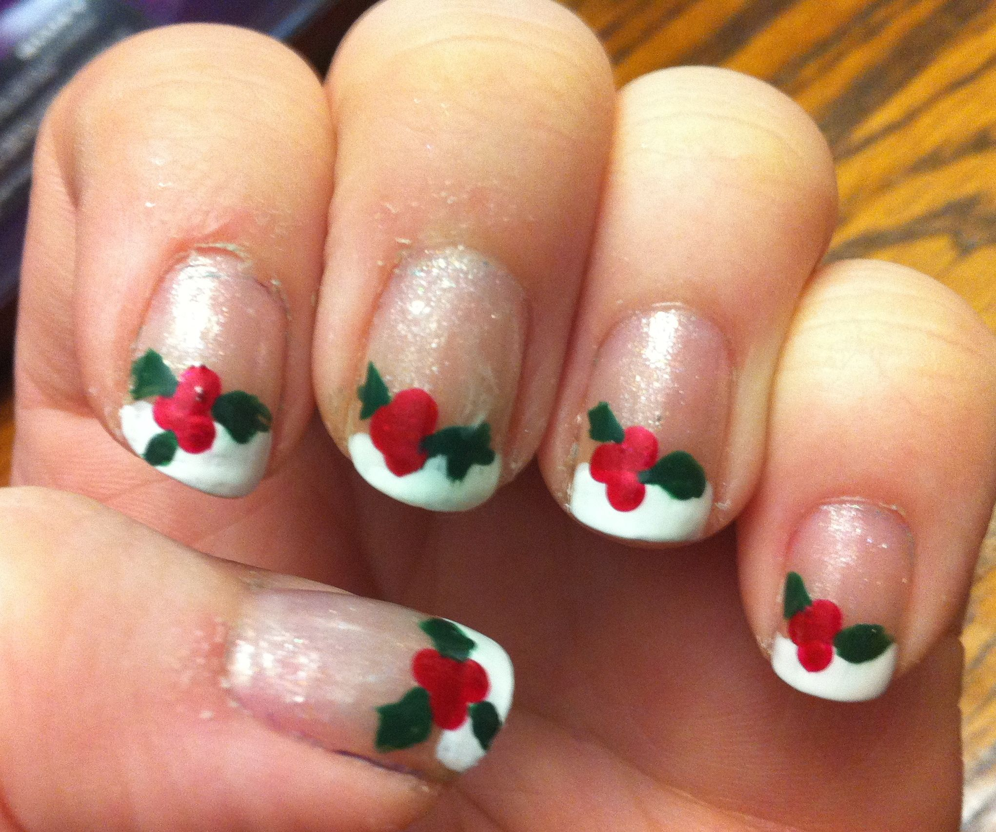 Here is my festive take on a french manicure! All done by me.