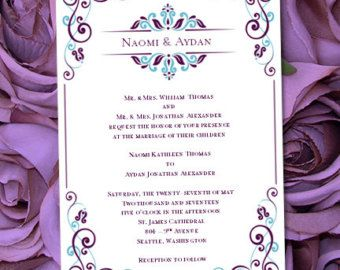"Invitation Template Word Fascinating Wedding Invitation Template ""julia"" Peacock Blue & Purple Printable ."