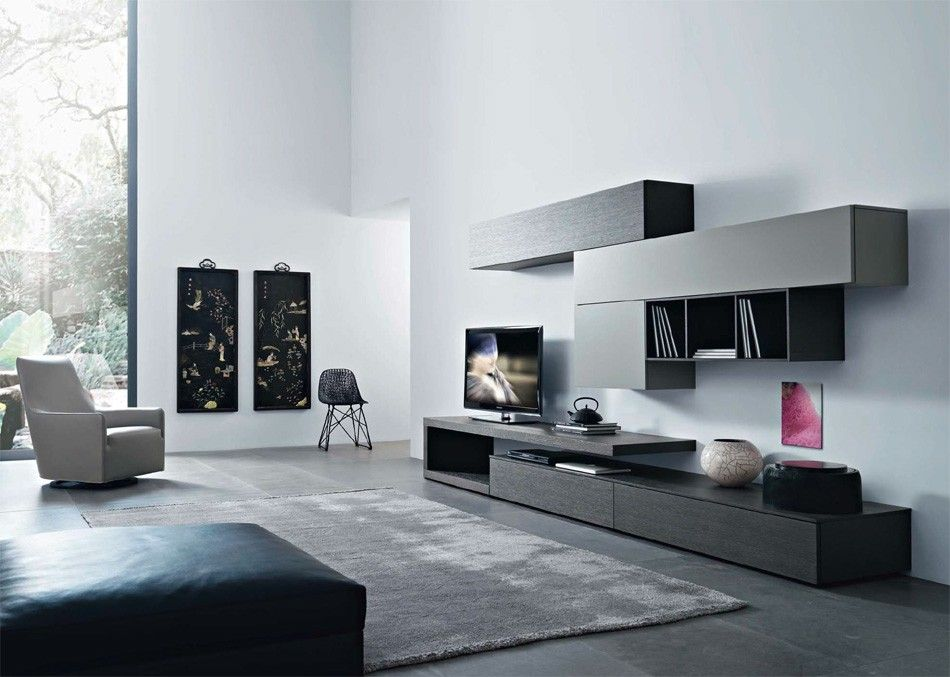 Captivating Disegno Wall Unit V By Sangiacomo, Italy In Grey Oak Veneer And Matt  Ardesia Lacquer