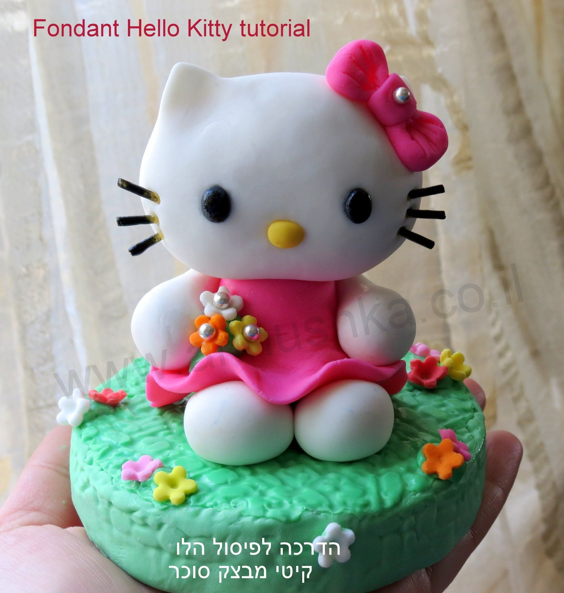 How to do fondant Hello Kitty topper tutorial llat kszts