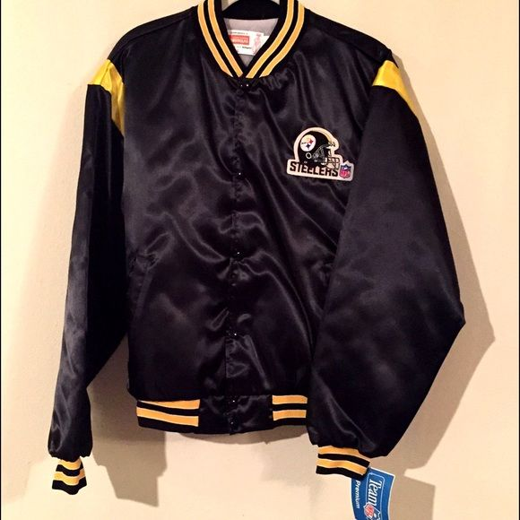 7388e240a Vintage NFL Pittsburgh Steelers satin black Jacket Vintage NFL Pittsburgh  Steelers NWT satin bomber coat adult