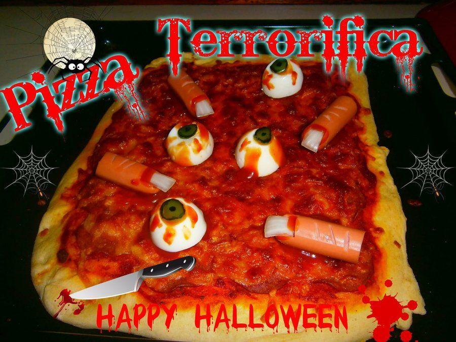 Pizza terrorífica para la cena de la noche Halloween