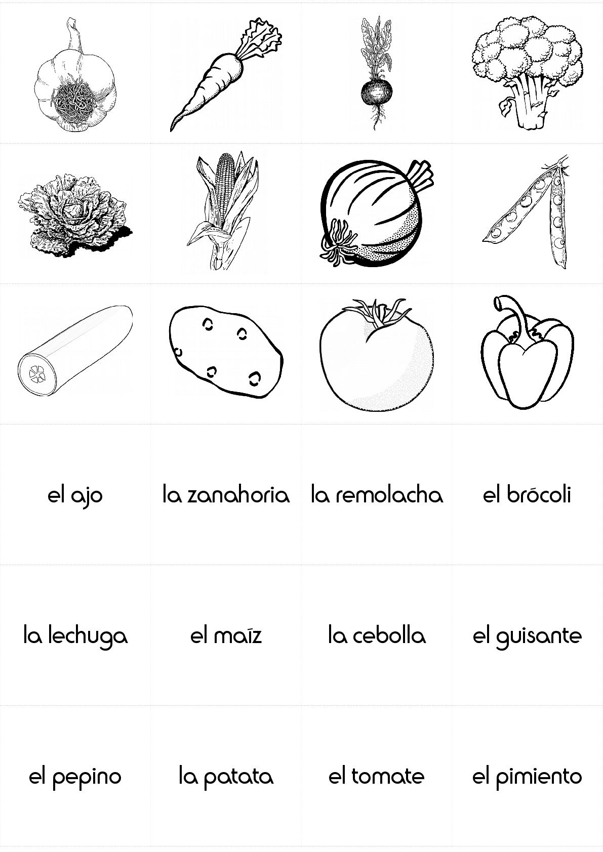 Food Vegetables In Spanish
