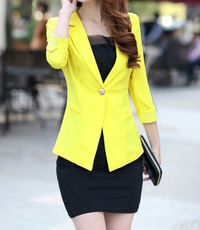 Women's Three Quarter Sleeve Blazer with Lace