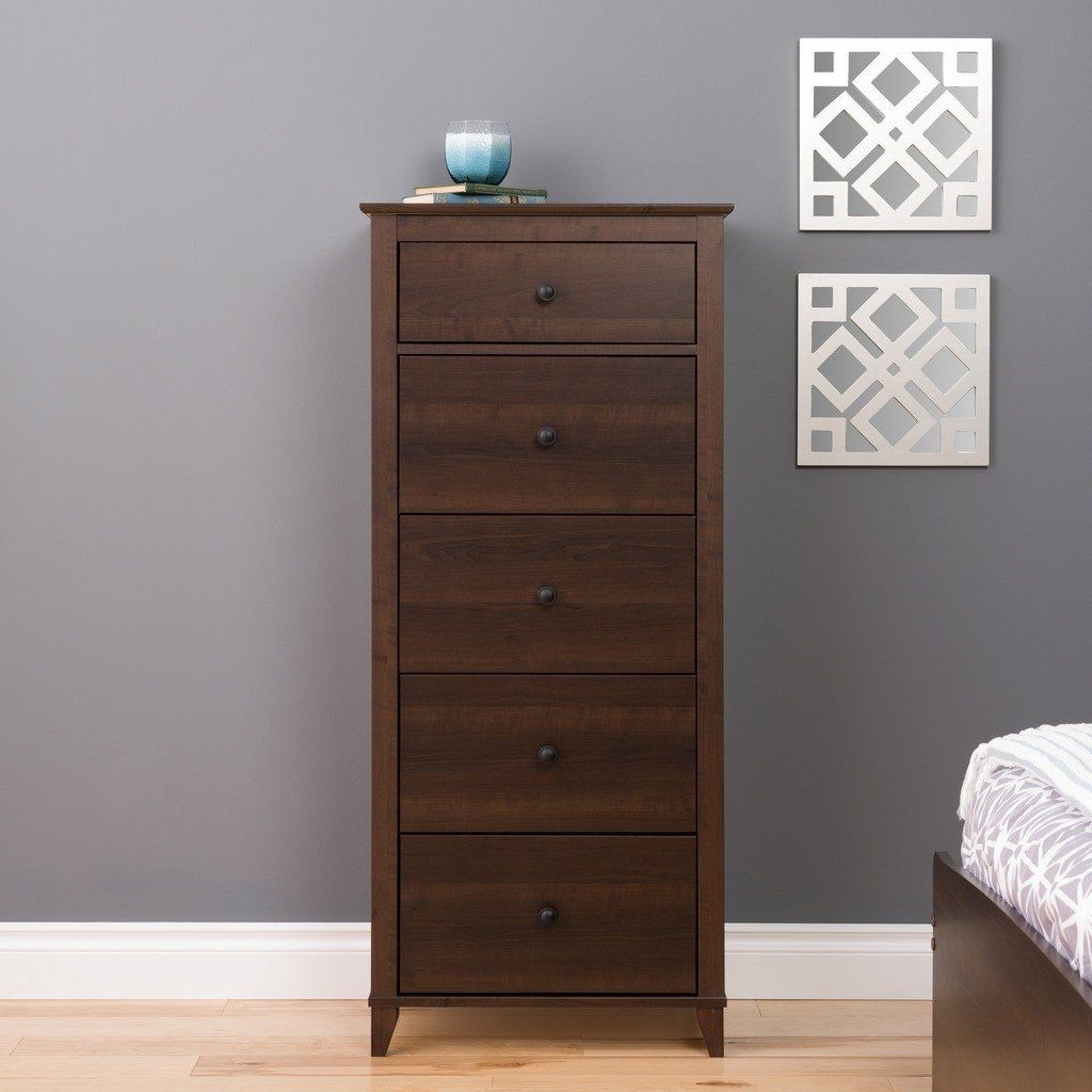 Yaletown 5 Drawer Tall Chest Multiple Options Available Thin Dresser Drawers Espresso Dresser [ 1024 x 1024 Pixel ]