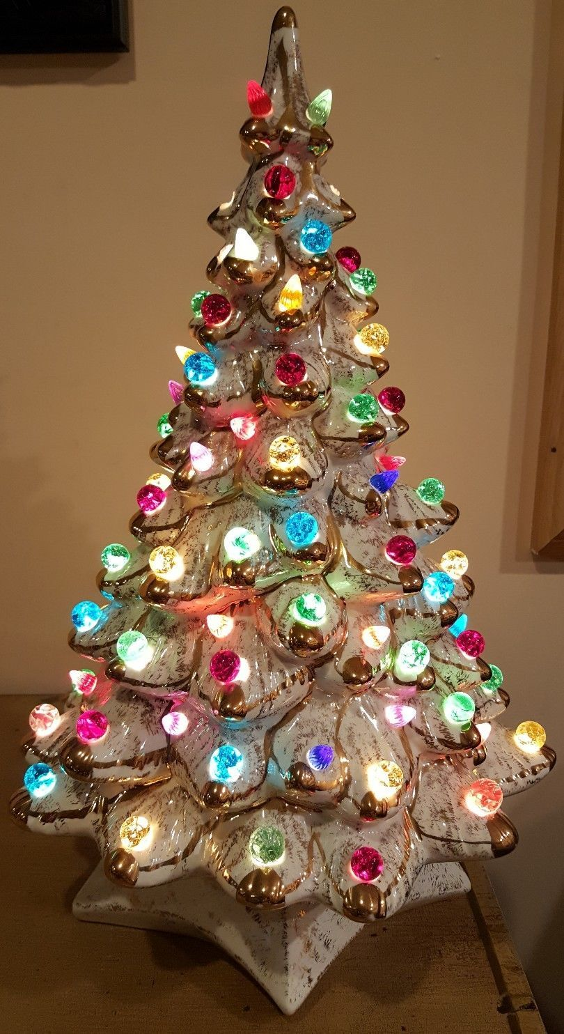 Rare Vintage 18 Cream Ceramic Christmas Tree With Gold Edging