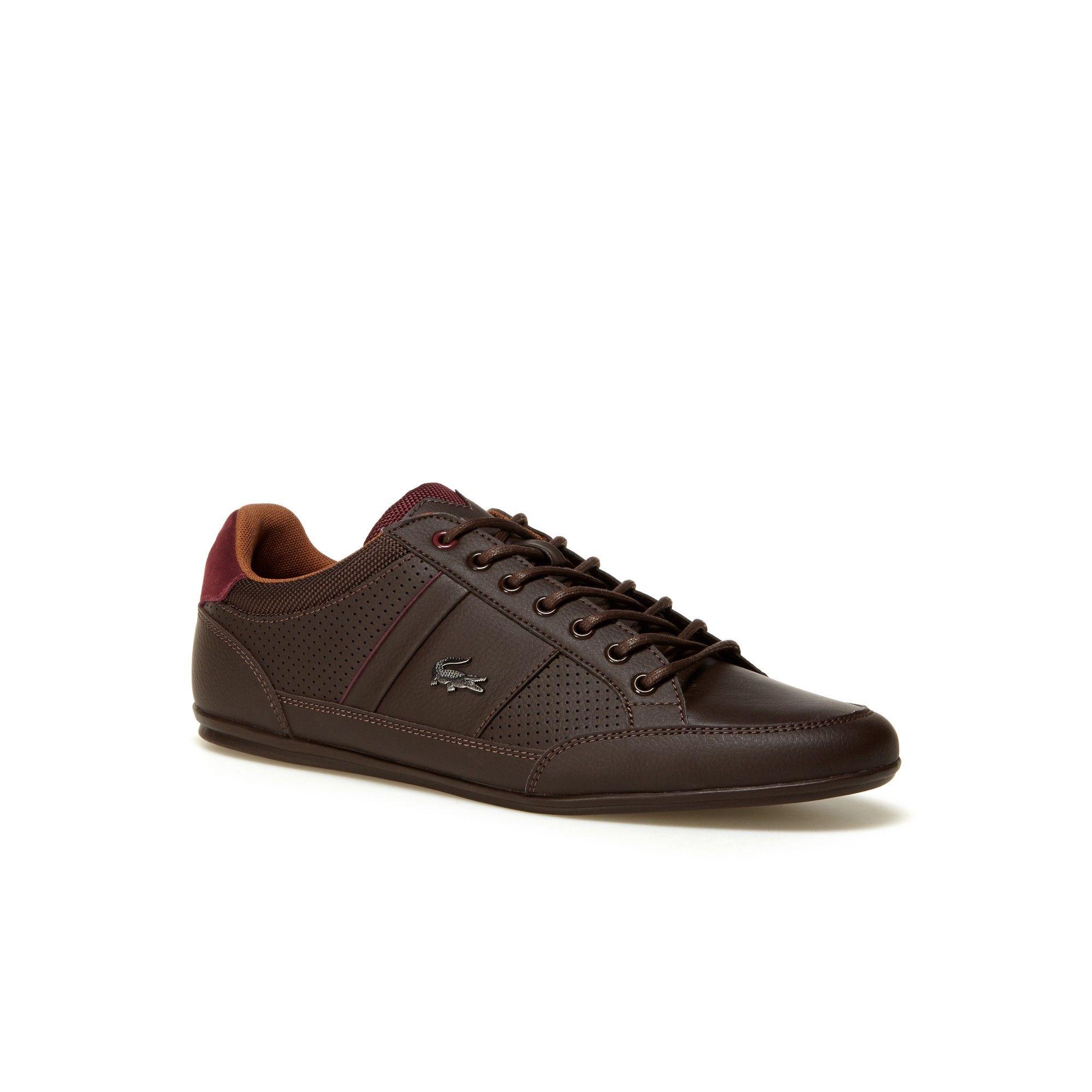 068d6180c LACOSTE Men s Chaymon Leather Sneakers - dark brown tan.  lacoste  shoes