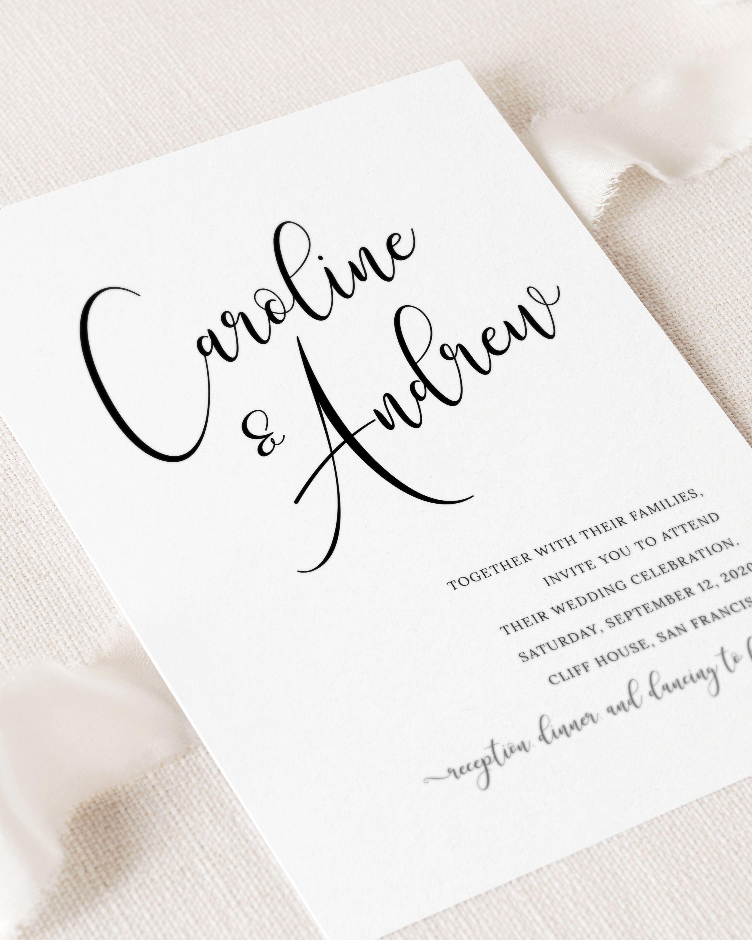 Black and White Script Printable Modern Calligraphy Wedding Invitation
