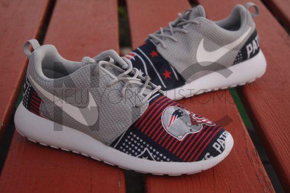 3b67316fc56af Nike Roshe Run Grey White New England Patriots V5 by NYCustoms ...