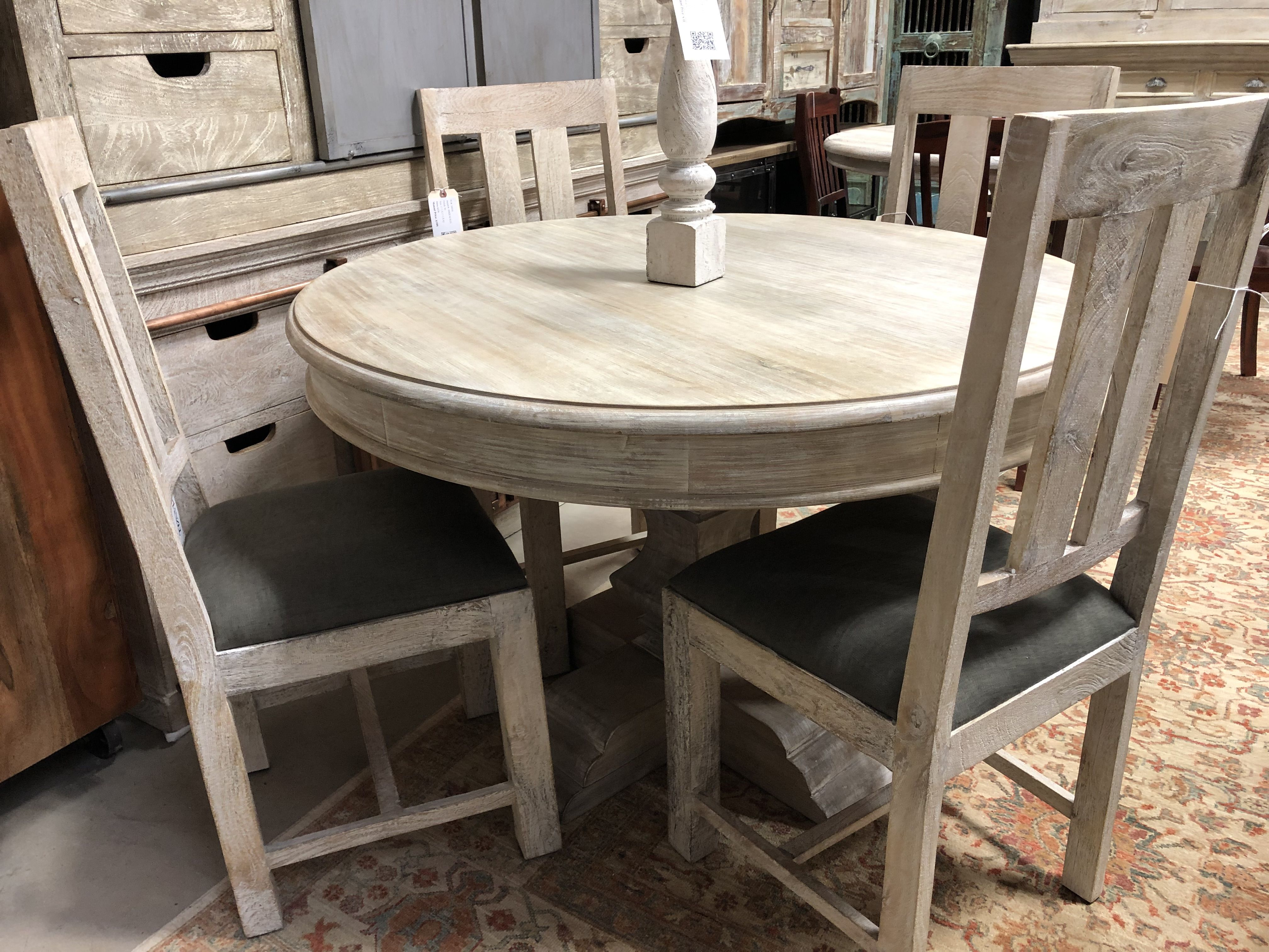 A Round 48 Table Seats 4 Comfortably Solid White Washed Wood