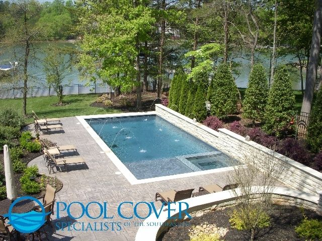 rectangular pool with cover - Rectangle Pool With Spa