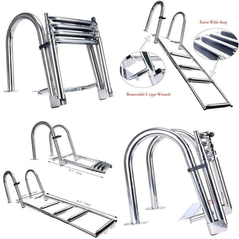 Ltd shanghai Amarine Made 3 Step Premium Stainless Folding Rear Entry Pontoon Boat Ladder w//Extra Wide Step Alfa Marine Co