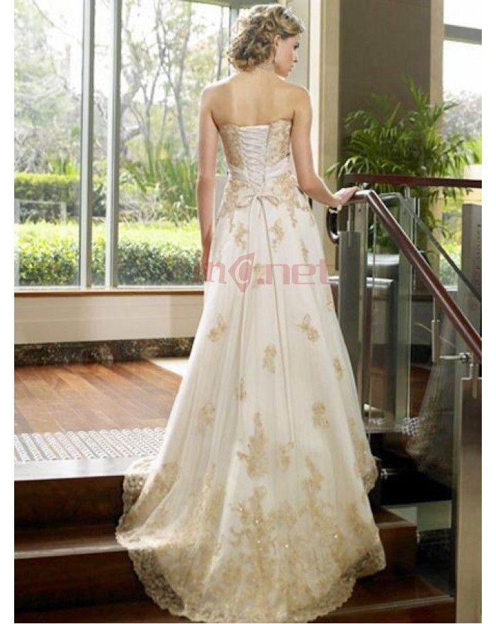 Gold Lace Wedding Dress Grecian White Satin Strapless Bridal Dresses Of Empire