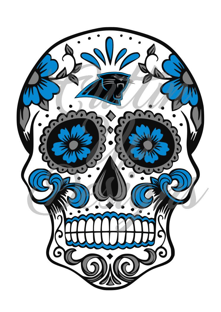 carolina panthers sugar skull day of the dead svg cutting file for rh pinterest com Panthers Logo Panther Clip Art Black and White