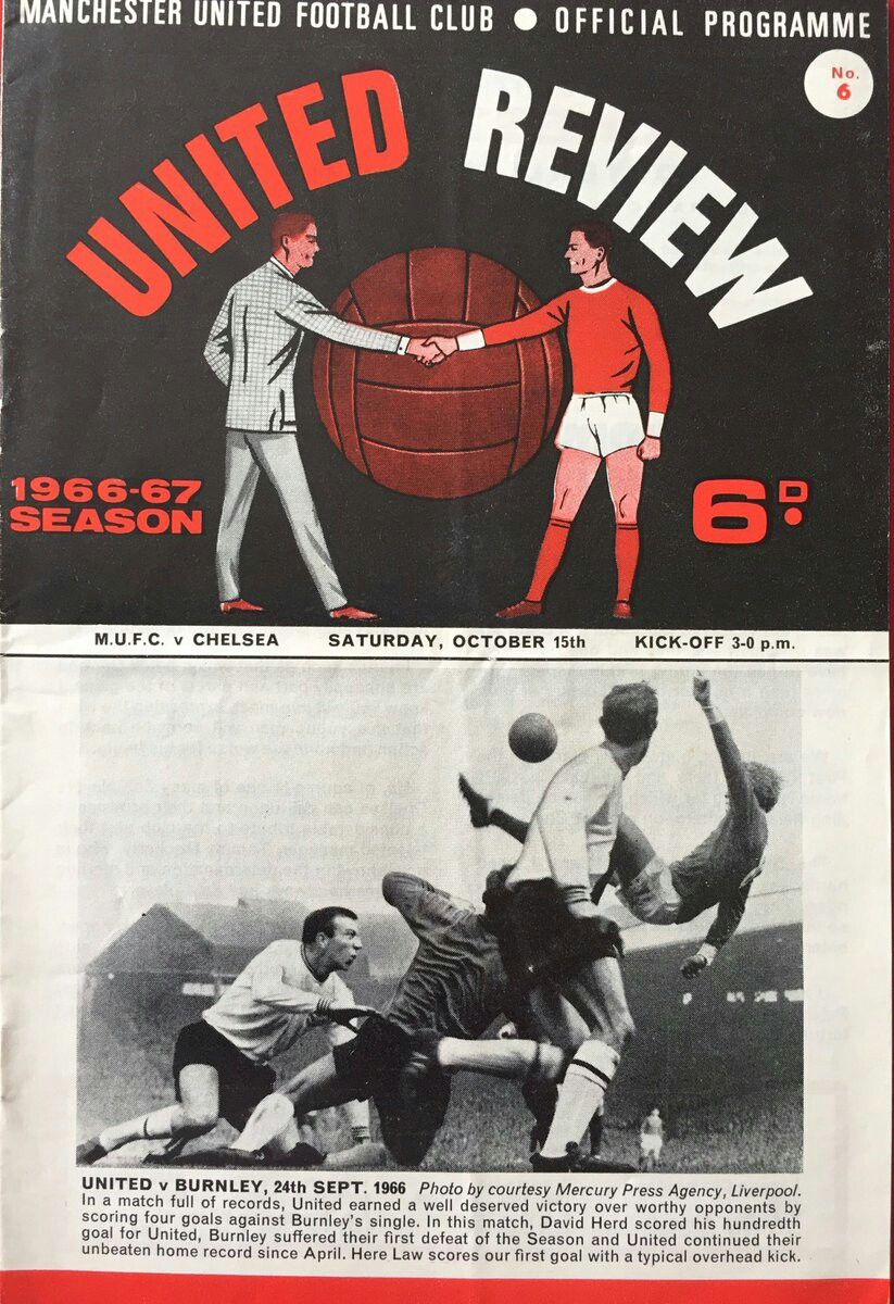 Man Utd 1 Chelsea 1 In Oct 1966 At Old Trafford The Programme Cover Div1 Manchester United Football Club Manchester United Football Manchester United