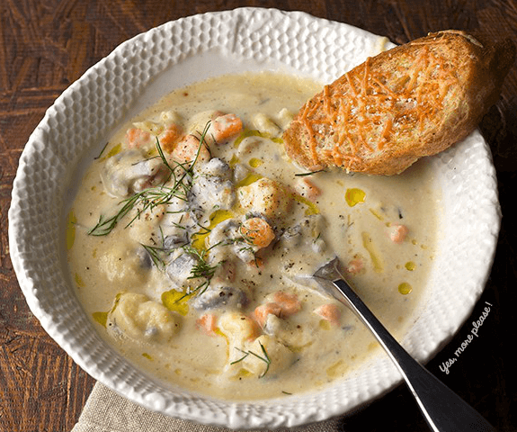 This Cauliflower Chowder is extra creamy chowderiness with carrots, sweet potatoes and onions add sweetness, texture and light flavor. Fresh dill adds a great herbal aroma to the soup and complements the cauliflower flavor in a very delicate way. Enjoy!