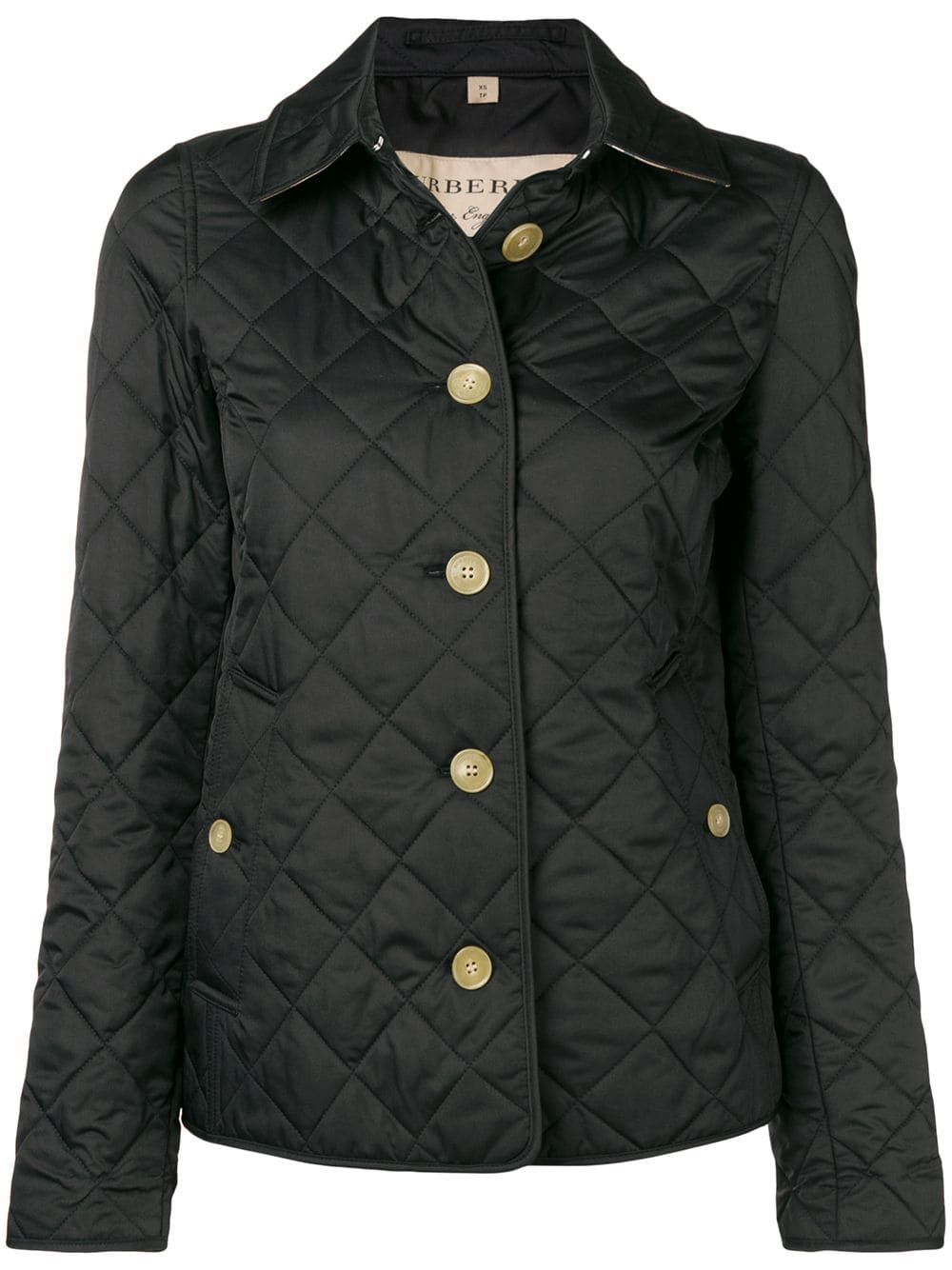 Burberry Check Print Quilted Jacket Black Quilted Jacket Jackets Burberry Print