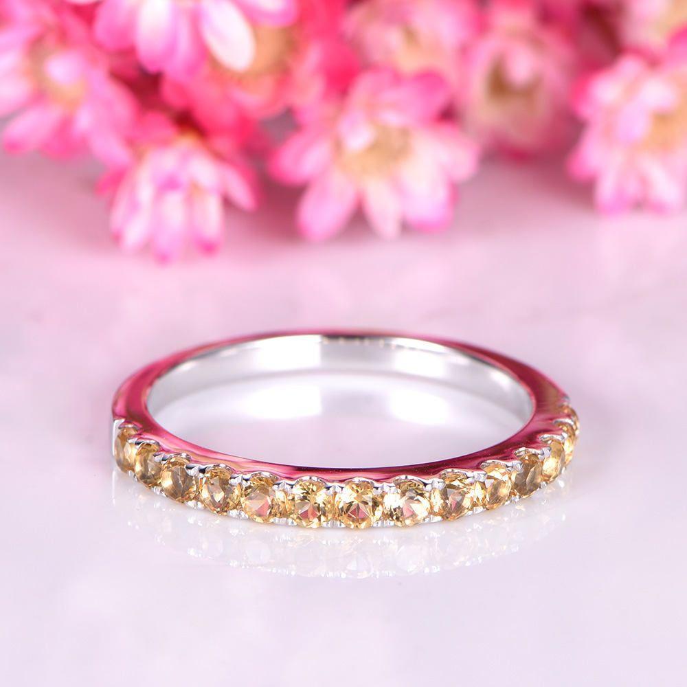 Citrine ring IF citrine wedding band 14k white gold matching band ...