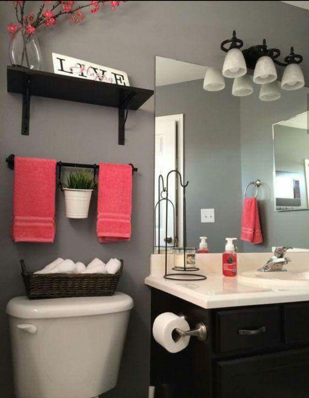 Combinacion Rojo Y Gris Girl Bathroom Decor Coral Bathroom