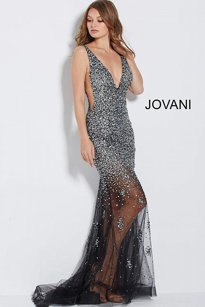 6d19d3141863 Fully beaded v-neckline gown with a sexy see through skirt ...