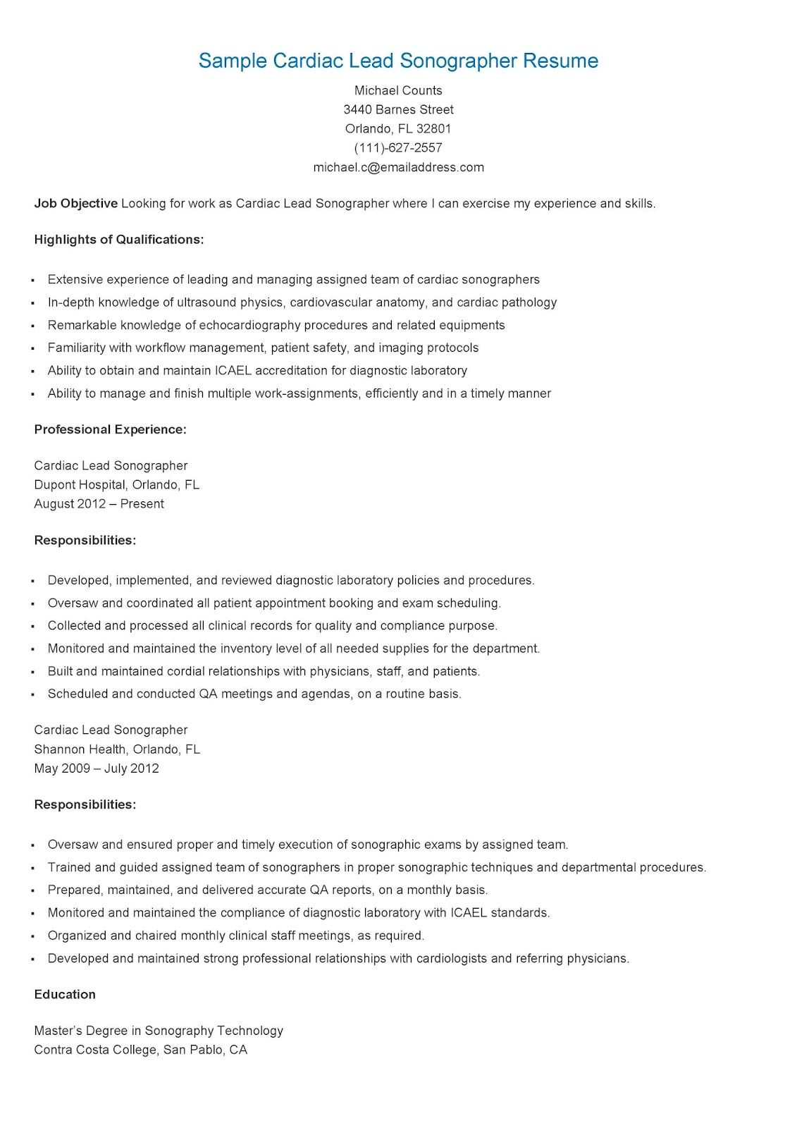 Sample Cardiac Lead Sonographer Resume  Resame