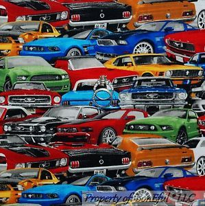 Muscle Car Print Fabric Fabric Fq Cotton Quilt Blue Red B W Car