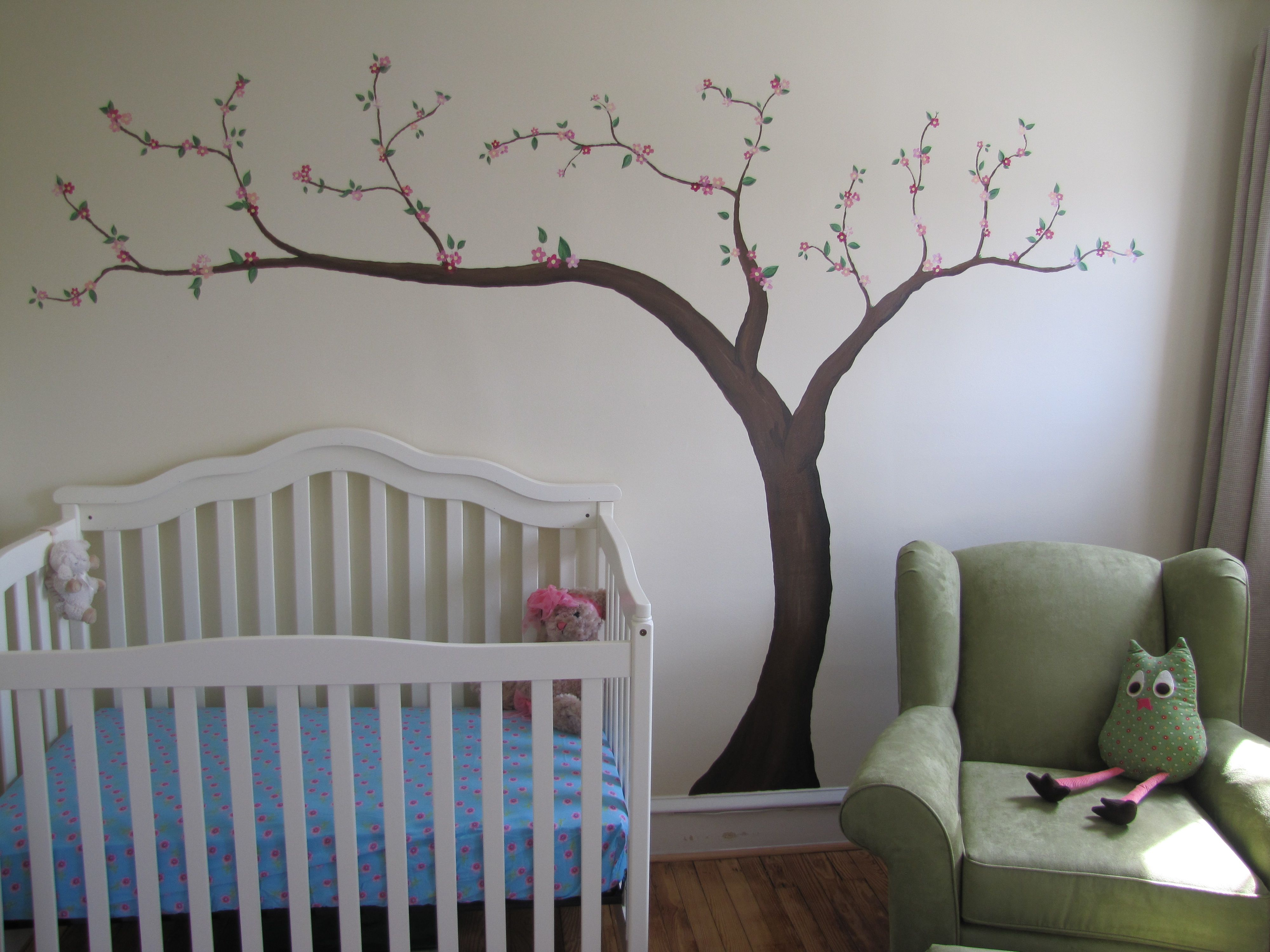 The Tree Mural Rachel And I Painted In Madelyn S Room Our Handpainted Version Of Pottery Barn Kids Cherry Blossom Decal Tree Mural Pottery Barn Kids Kids Room
