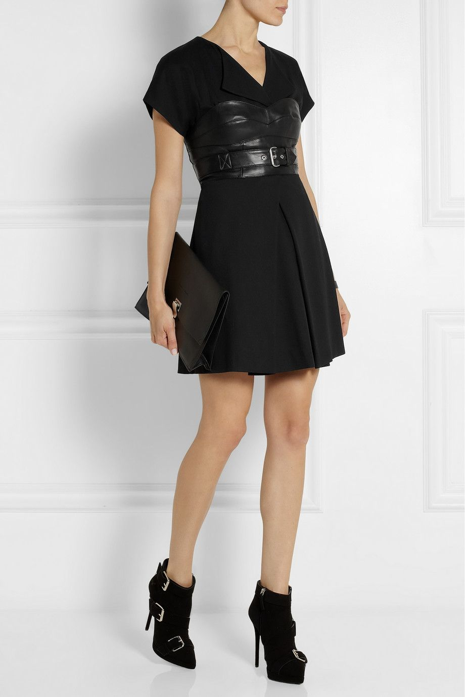 872516bf1 McQ Alexander McQueen outfit. MCQ ALEXANDER MCQUEEN Leather-paneled crepe mini  dress ...