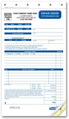 Compact Repair Order Form With Reminder Card Quick To Fill Out