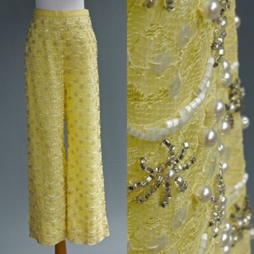 VTG-60s-70s-Dress-Pants-Opulently-Beaded-Glass-Beads-Pearls-Lemon-Yellow-Lace-S