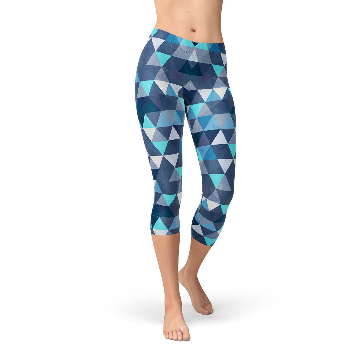 875d78d007f Colorful Blue Triangle Capri Leggings - Triangle Printed Pattern ...