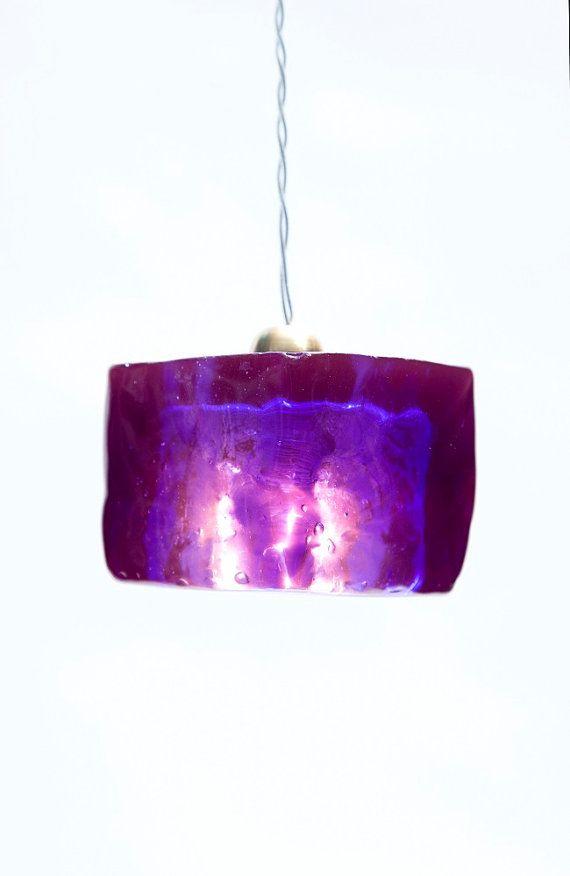 Purple pendant light fixture cube hand made purple epoxy purple pendant light fixture cube hand made purple epoxy polyester light cube aloadofball Images