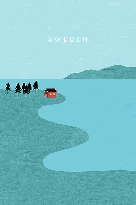 Cartel de viaje de Suecia por Katinka Reinke