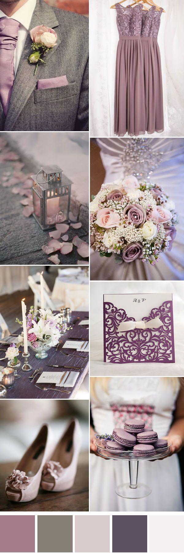 lilás e cinza idéias da cor do casamento neutro