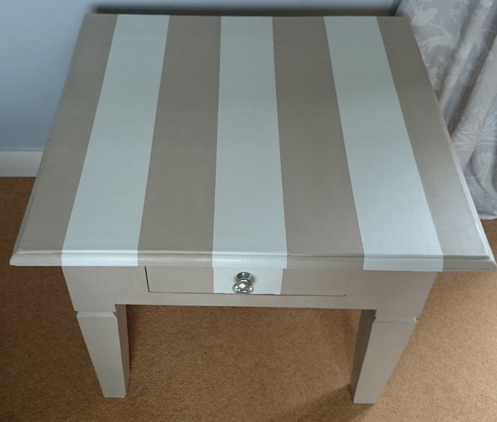 Amazing Stunning Painted Striped Coffee Table Cream/white Annie Sloan Shabby Chic  Unique