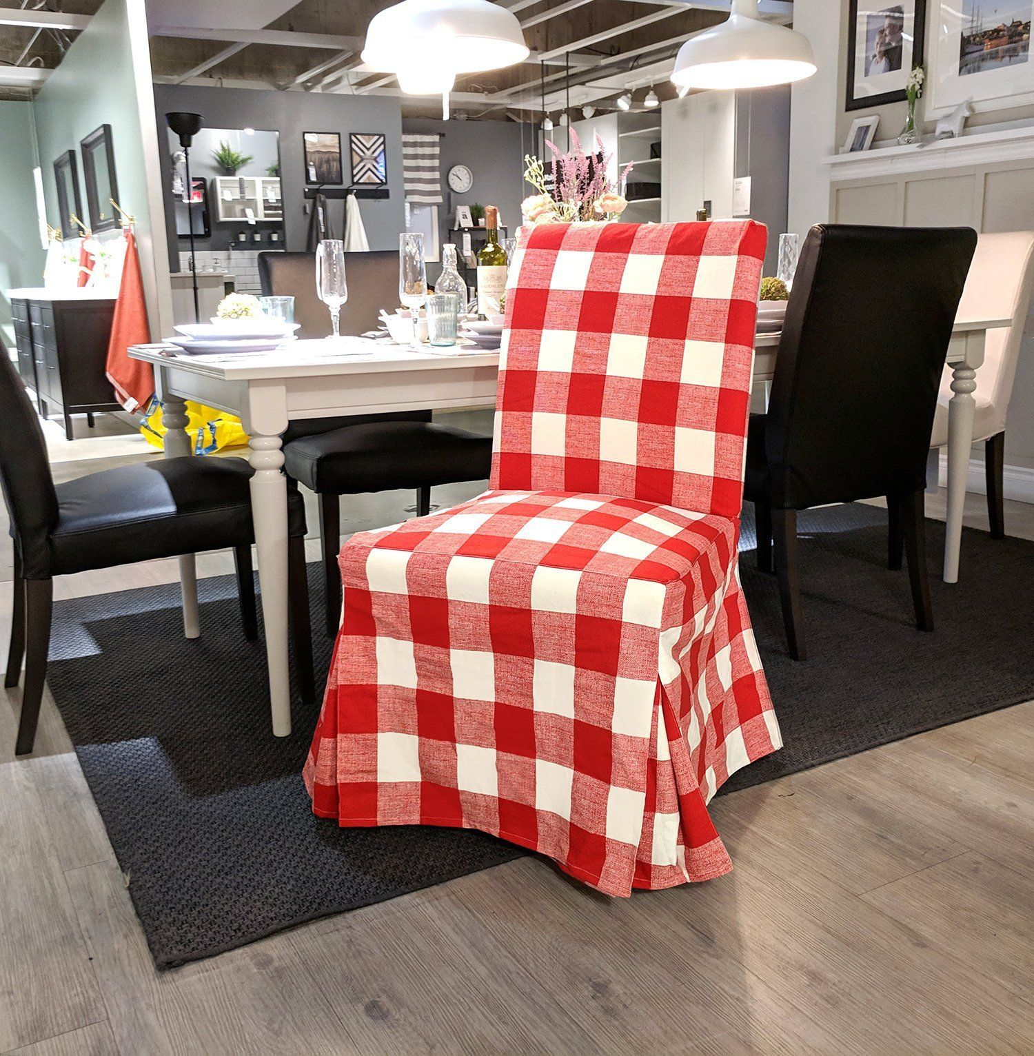 IKEA HENRIKSDAL Dining Chair Cover, Red Buffalo Check