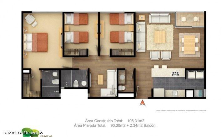 Departamentos nuevos en la urbanizaci n entrecerdos for Plano departamento 2 dormitorios