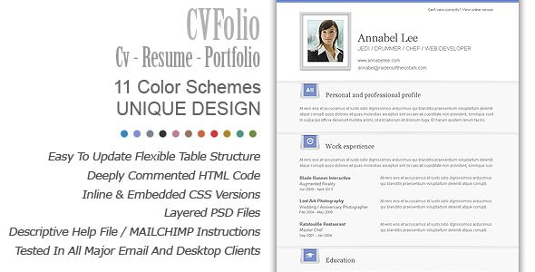 Cv Folio Cv Resume Portfolio Newsletter Templates Email Template Design Email Newsletter Template