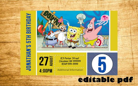 Spongebob Invitation EDITABLE TEXT Customizable by inviteBuzz