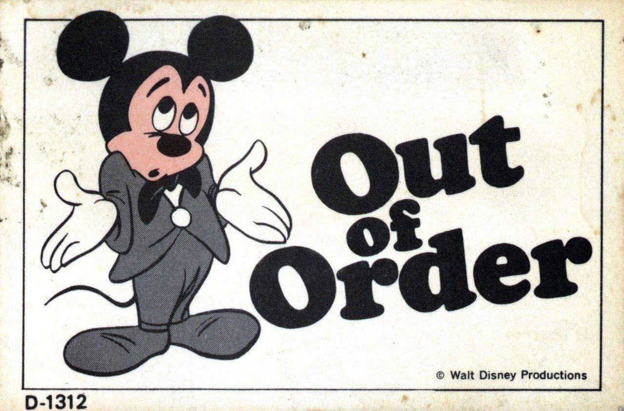 Bumbleclot Vintage Disneyland Vintage Disney Vintage Disneyland Out Of Order Sign