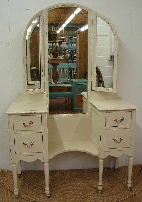 Best Vintage Reclaimed White Painted Shabby Chic Cottage Vanity Dressing Table Dresser W Tri Fold 640 x 480