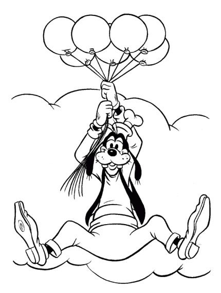 Goofy Hold Balloons Coloring Pages